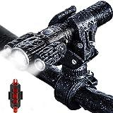 Fdrirect Farol de bicicleta, farol dianteiro de bicicleta de liga de alumínio de 3 cabeças, USB à prova d'água recarregável S