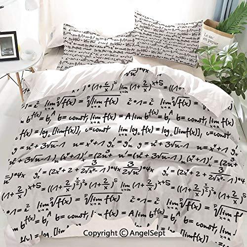 Homenon Mathematics Classroom Decor Decor Duvet Cover Set Full Size,Algebra Symbols Function Arithmetic Trigonometry Science Proof,Decorative 3 Piece Bedding Set with 1 Pillow Shams
