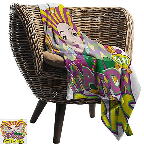 Davishouse Mardi Gras Home Throw Blanket Carnival Girl in Harlequin Costume and Hat Cartoon Fat Tuesday Theme Ultra Soft and Warm Hypoallergenic 50