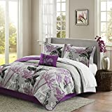 Madison Park Essentials Claremont Cal King Size Quilt Bedding Set - Purple, Grey, Floral – 8 Piece Bedding Quilt Coverlets – Ultra Soft Microfiber Bed Quilts Quilted Coverlet