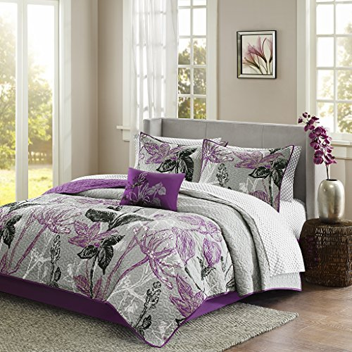 Madison Park MPE13-202 Essentials Claremont Completed Coverlet & Sheet Set King Purple,King (Essential Home Comforter Set)