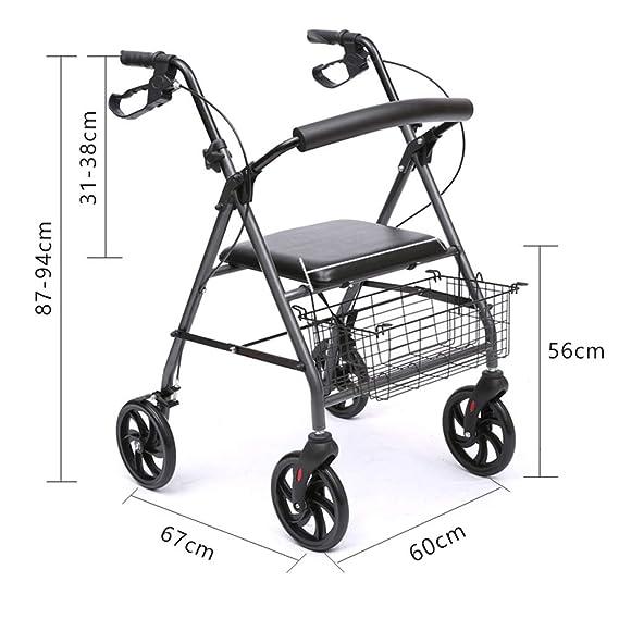 Andador plegable con asiento y ruedas para andar con marcos de ...