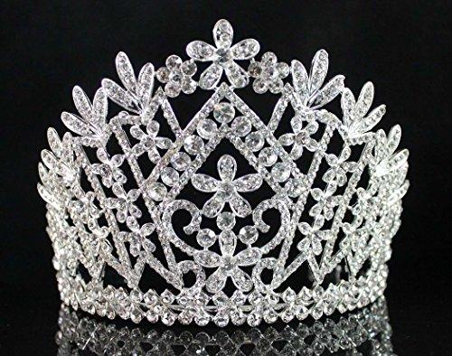 - Janefashions Daisy Clear Austrian Crystal Rhinestone Tiara Crown Bridal Prom Pageant T1861 Silver