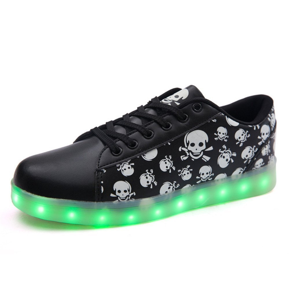 LED Shoes Light Up Glow Sneakers Unisex Men Women USB charging Flashing Luminous Sports Shoes (Black 37)