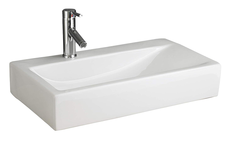 Clickbasin Altomura 66cm x 38cm White Rectangular Bathroom Wall Mounted Sink