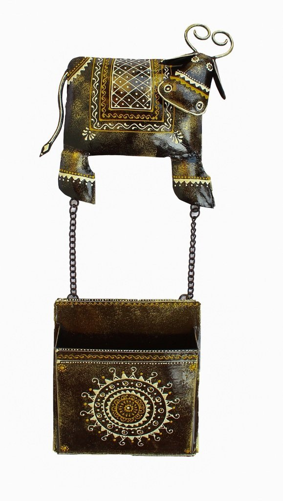 Crafticia Indian Antique Craft Rajasthani Pink City Traditional Iron Handmade Handicraft Metal Cow Newspaper / Letter Holder Decorative Christmas Gift Item Home / Wall Decor Showpiece / Figurine