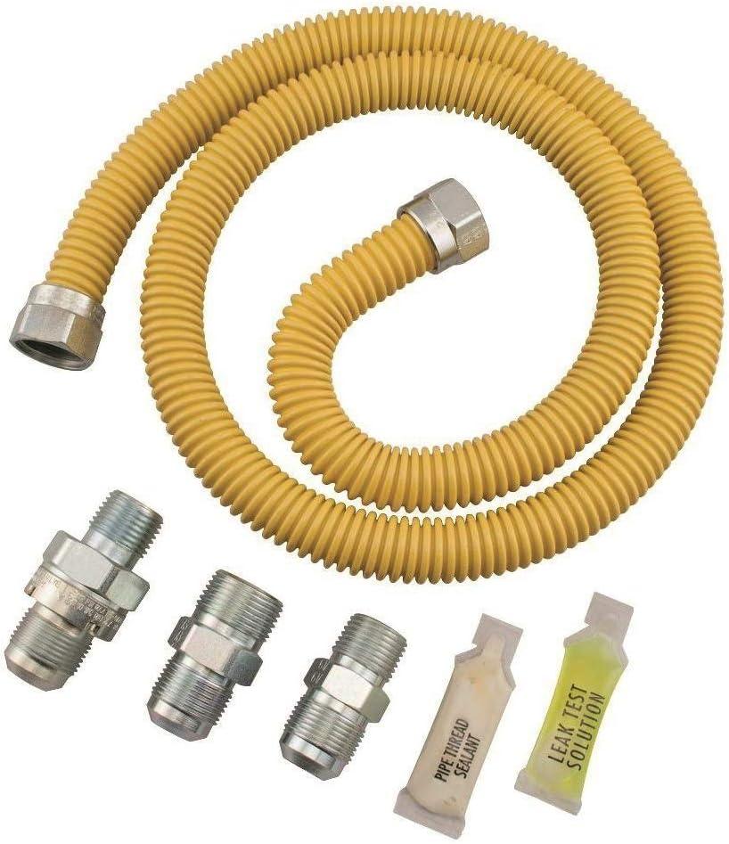 Dormont 0222529 SmartSense Gas Dryer & Water Heater Appliance Connector Kit, 36 In. Long, 1/2 In. Outside Diameter, Yellow Coated