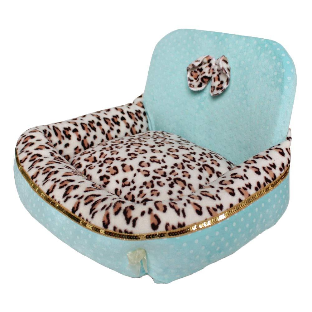 bluee Small bluee Small Dog Bed Soft Washable Fleece Leopard high Back Kennel Keep Warm Cushion Luxury Pet Basket