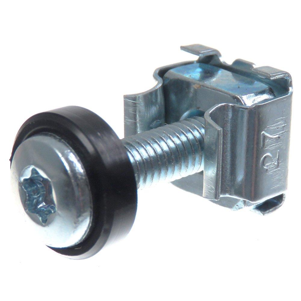 SECCARO Kä figmuttern M5 im Set, zur Rack-Montage, Stahl verzinkt, 20 mm Schraube mit Innensechsrund (TX), Unterlegscheibe, 20 Stü ck ecomserv