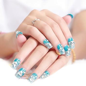 TININNA 24 pcs Brillo para Uñas, Uñas Stickers, Nail Art y 3D Nail Art Rueda Manicura con Azul Diamante.: Amazon.es: Hogar