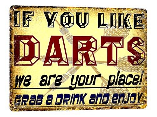 DARTS Metal Sign funny VINTAGE style bar pub great gift garage wall decor art ()