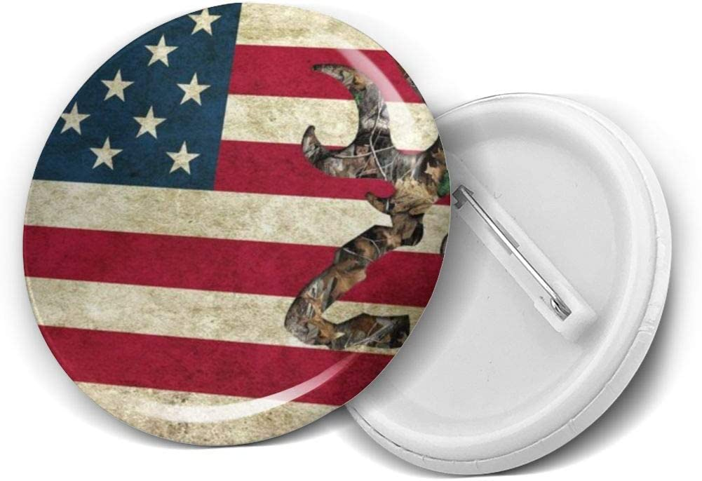 YXXZ American Flag Deer Camo Round Badge Brooches and Pins Accessories Multiple Packs