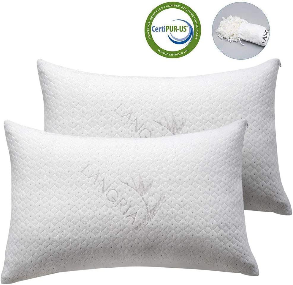 Premium Shredded Memory Foam Pillow Adjustable Organic Bamboo Removable Cover