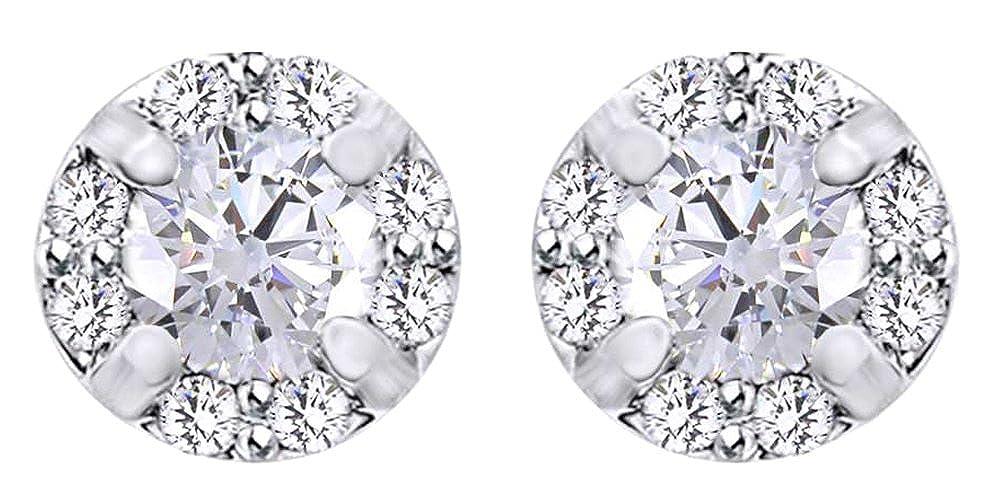 0,2 Karat Rundschliff Weißszlig; natürlicher Diamant Ohrstecker in 14 ct 585 Massiv Weißszlig; Gold 14 Karat (585) WeißGold