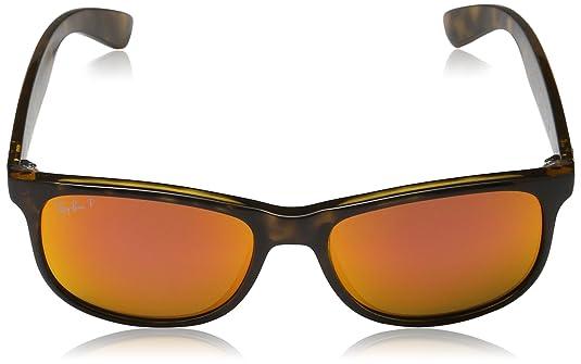70d8f2ef2a Amazon.com  Ray-Ban Andy - Shiny Havana Frame Polar Orange Flash Lenses 55mm  Polarized  Clothing