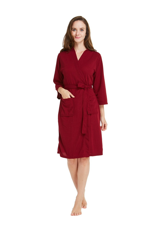 TIMSOPHIA Robes Women Robe Waffle Spa Robes Women Lightweight Robe (Red, Medium)