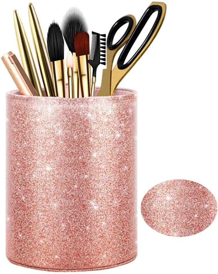 Glitter Pen Holder, Pencil Cup Desk for Women Girls Makeup Brush Organizer Holder Large Pu Leather Cup Office Supplies Desk Decor Accessories, Gift, Classroom, Home(Rose Gold)