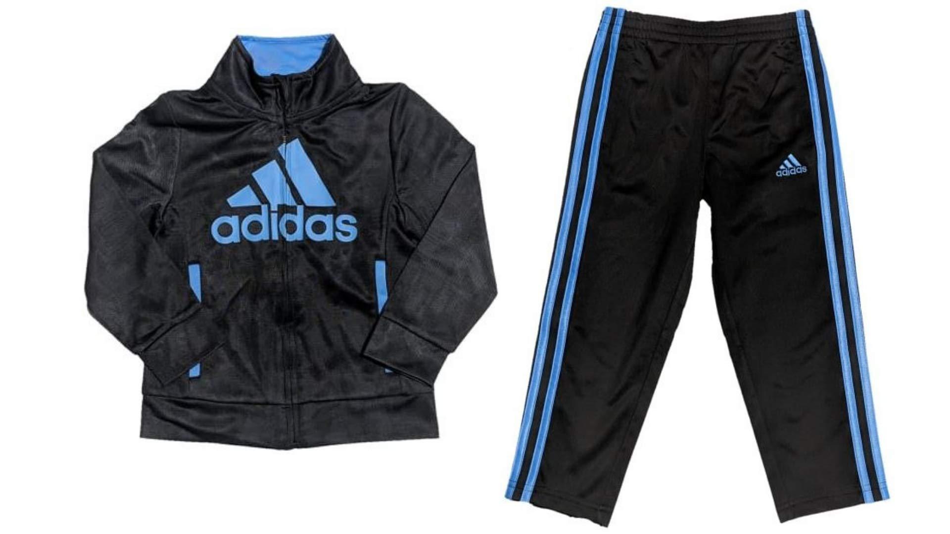 adidas Toddler Boys' Iconic Tricot Jacket and Pant Set, Black/Blue, 3T