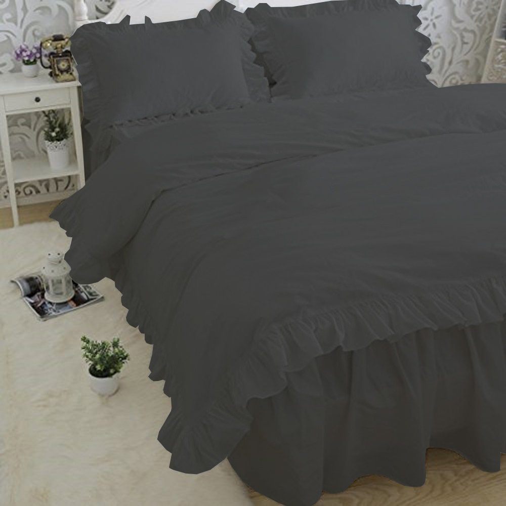 Duvets - Soft Luxurious 5-Piece Frilled Duvet Cover Set Comes with Beautiful Corner Ruffle Edges 100% Egyptian Cotton 600 TC Comforter Cover Set Solid (Twin/Twin XL, Elephant Grey)