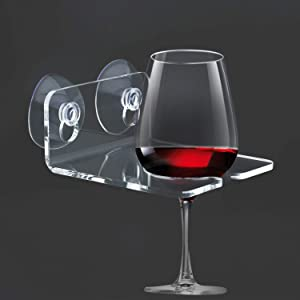 House Ur Home Bathtub Wine Glass Cupholder. Caddy Shower & Relax Bath with Powerful Strong Suction Cups, (1) Clear Acrylic