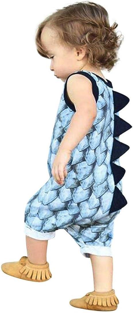 BeautyTop Pagliaccetto,Beauty Top Bambino Neonato Dinosauro Pagliaccetto Ragazze Senza Maniche Pigiama Romper Tuta Pagliaccetto Set di Vestiti Bodysuit Jumpsuit Outfits Set