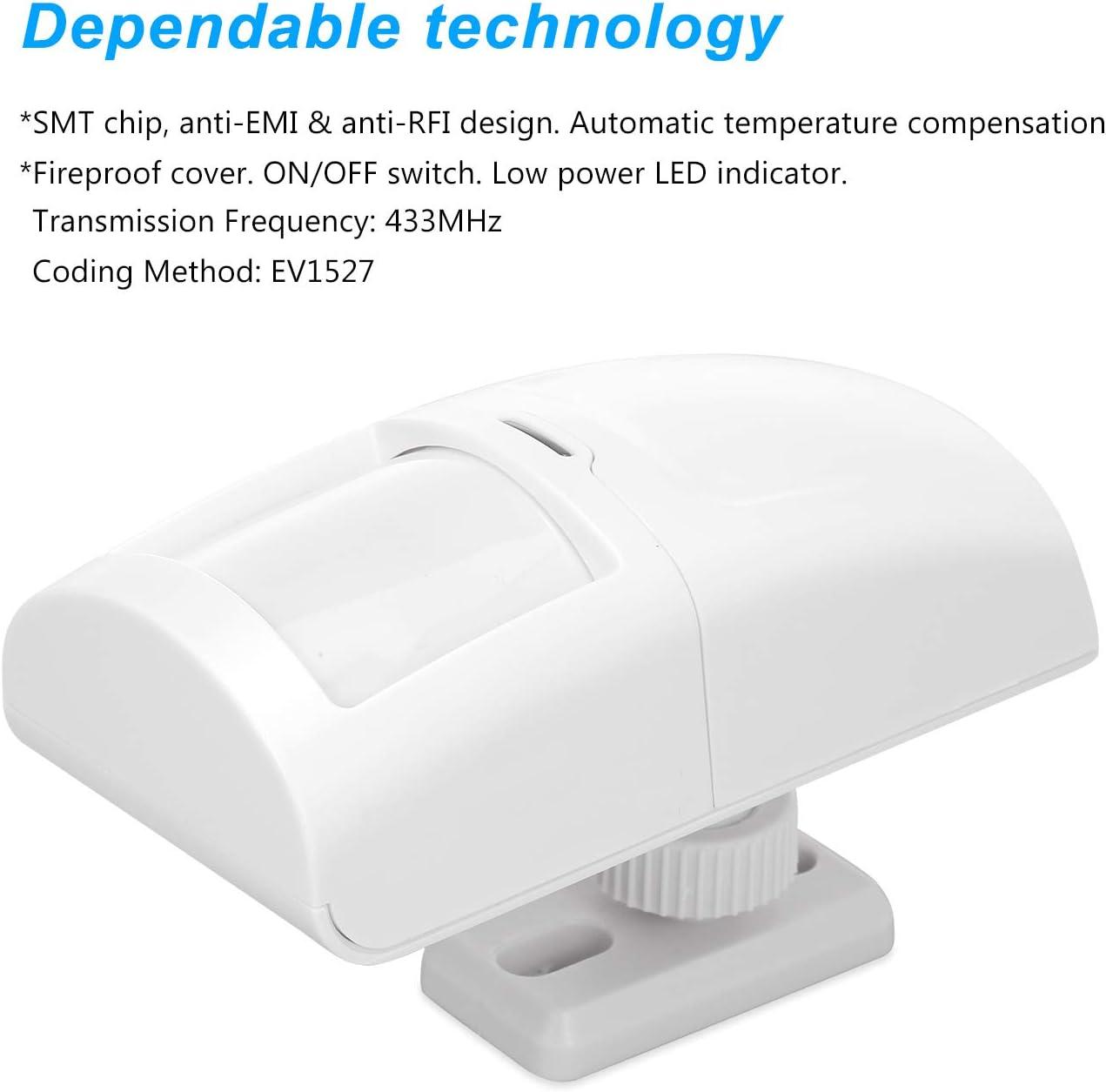 OWSOO 433MHz Sensores de Movimiento PIR Inal/ámbrico Anti-Pet 15KG Mascota Inmune Detector Infrarrojo Pasivo Dual para Sistema de Alarma