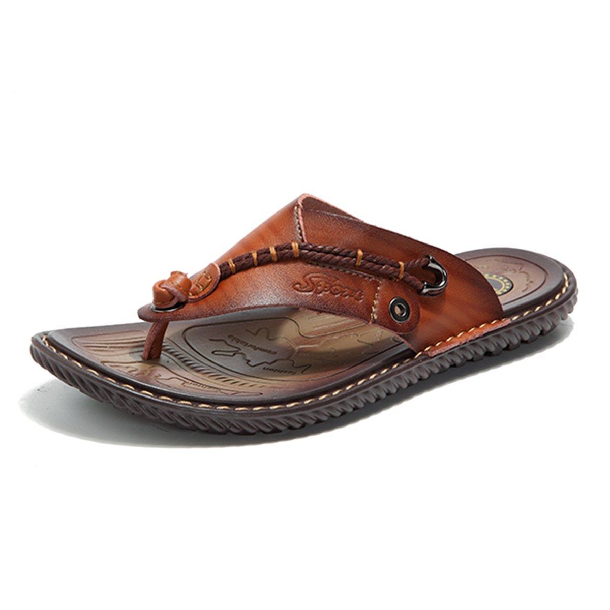 Gracosy Flip Flops, Unisex Zehentrenner Flache Hausschuhe Pantoletten Sommer Schuhe Slippers Weich Anti-Rutsch T-Strap Sandalen fuuml;r Herren Damenr  40 EU|Braun