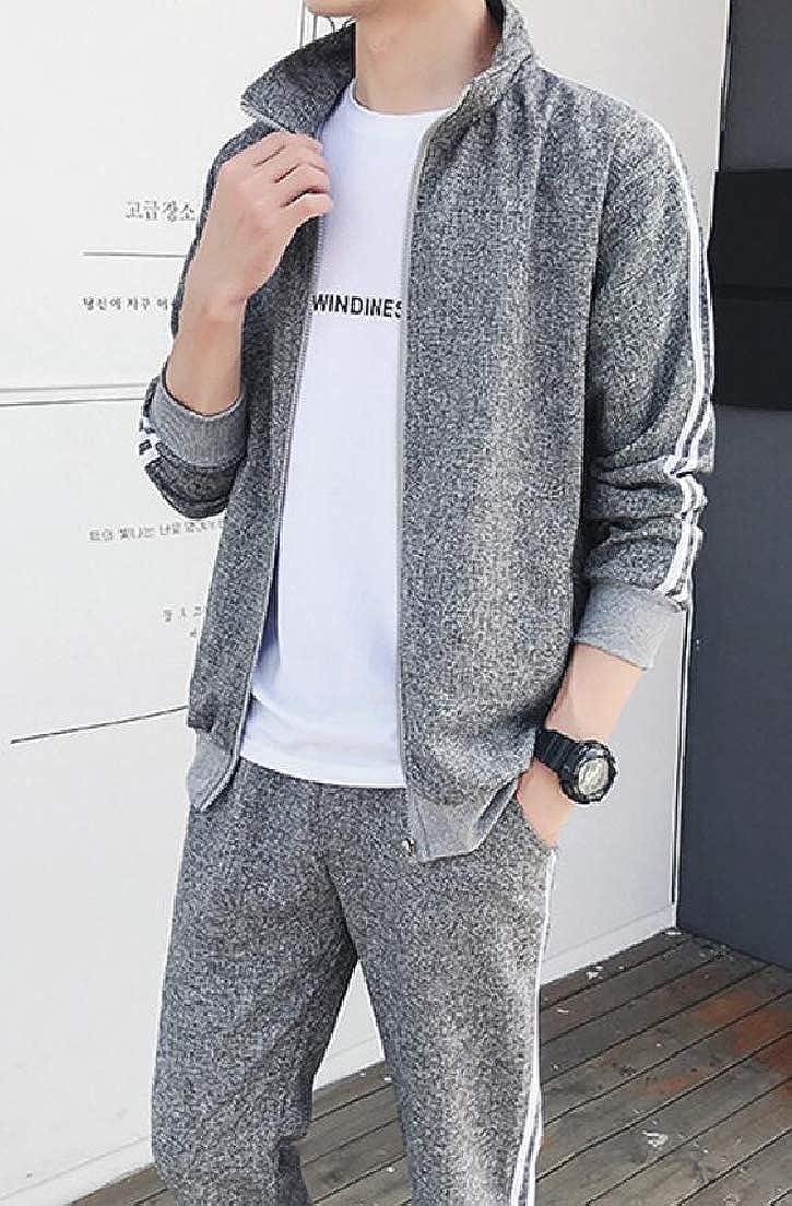 Zantt Mens Zipper Striped Jacket 2 Pieces Sport Pants Tracksuit Outfit Set