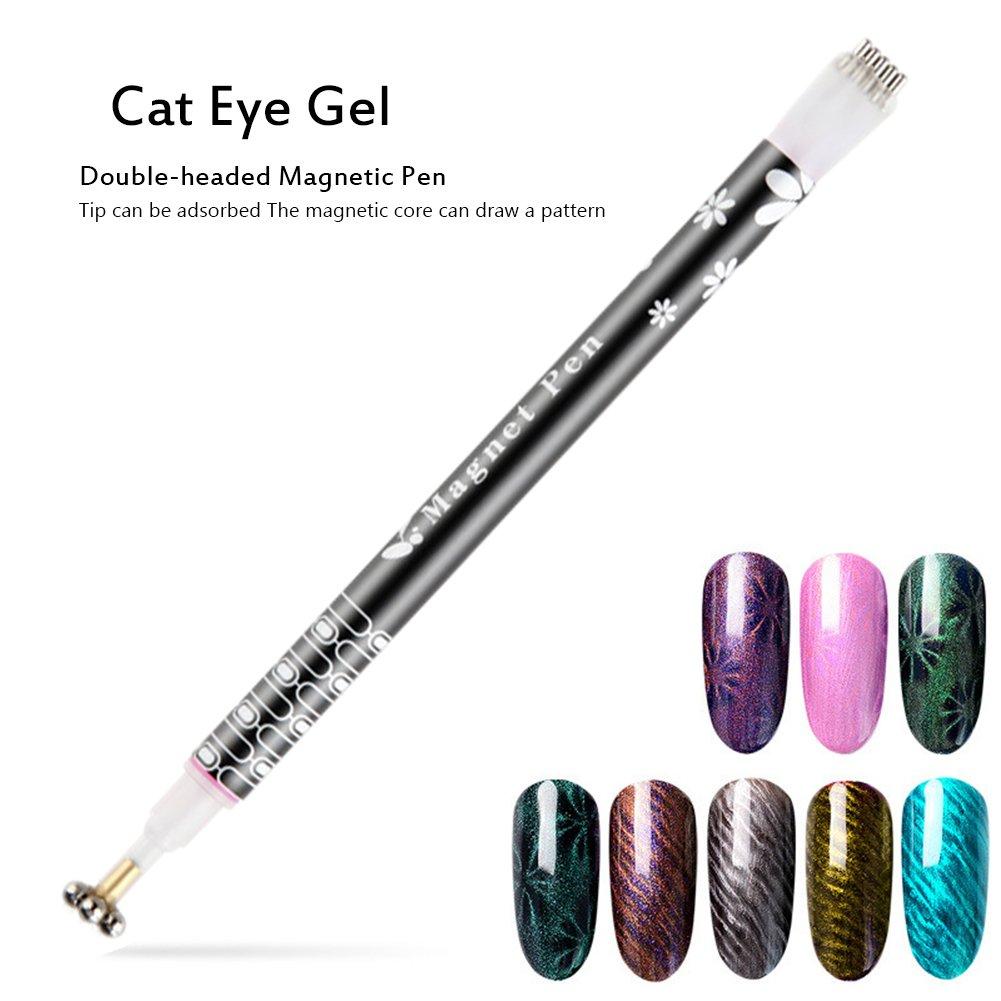 Oshide - Lápiz de doble cabezal para decoración de uñas, lápiz de detalles para ojos de gato, UV, LED, gel para uñas, diseño de esmalte de uñas, herramientas de manicura