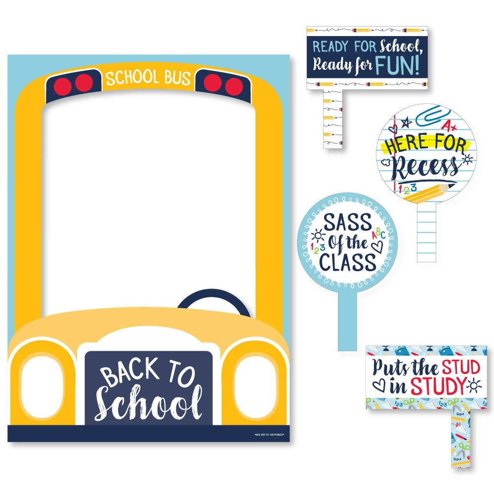 Big Dot of Happiness Back to School - First Day of School Classroom Decorations and Selfie Photo Booth Picture Frame and Props - Printed on Sturdy Material