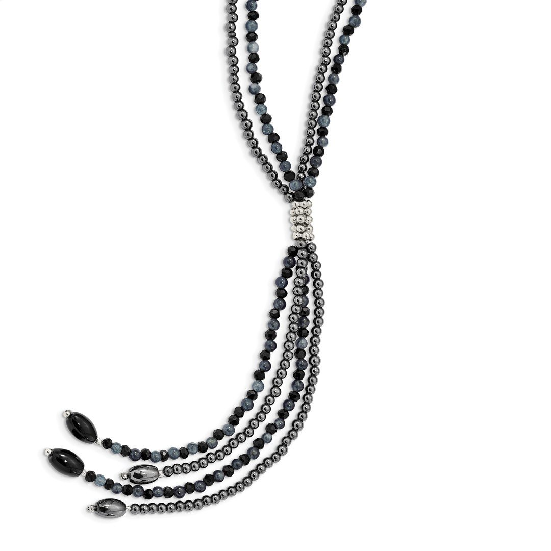 ICE CARATS 925 Sterling Silver Blkagate/blkcrys/hematite/grey Quartz 2 Strand 5 Inch Drop Chain Necklace Natural Stone Fine Jewelry Ideal Mothers Day Gifts For Mom Women Gift Set From Heart