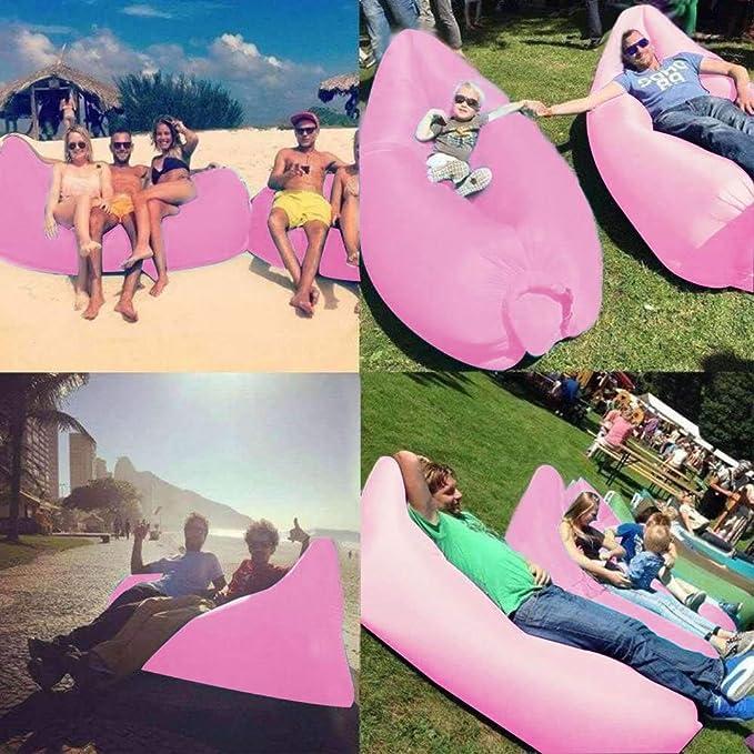 Amazon.com: Tumbona inflable de aire para cama, playa, silla ...