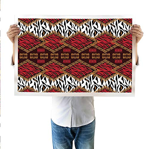SATVSHOP Art Work for Wall Decor Native American Navajo Style Ethnic Cultural Ancient Seamless Pattern.Print Canvas,Suitable for bedrooms, Living Rooms, corridors23.6Wx23.6L