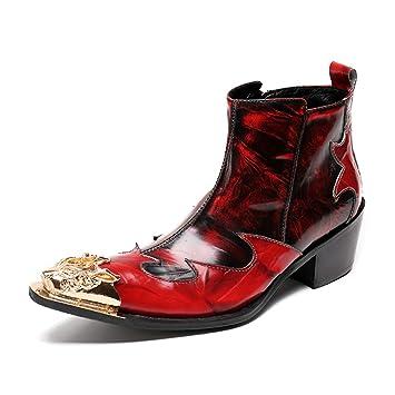 Hombre Botas de Vaquero Botines Botas Pantorrilla Cuero Zapatos Puntiagudo Botas de Moto Cremallera Clásico Elegante Rojo Noche Partido Vestido: Amazon.es: ...