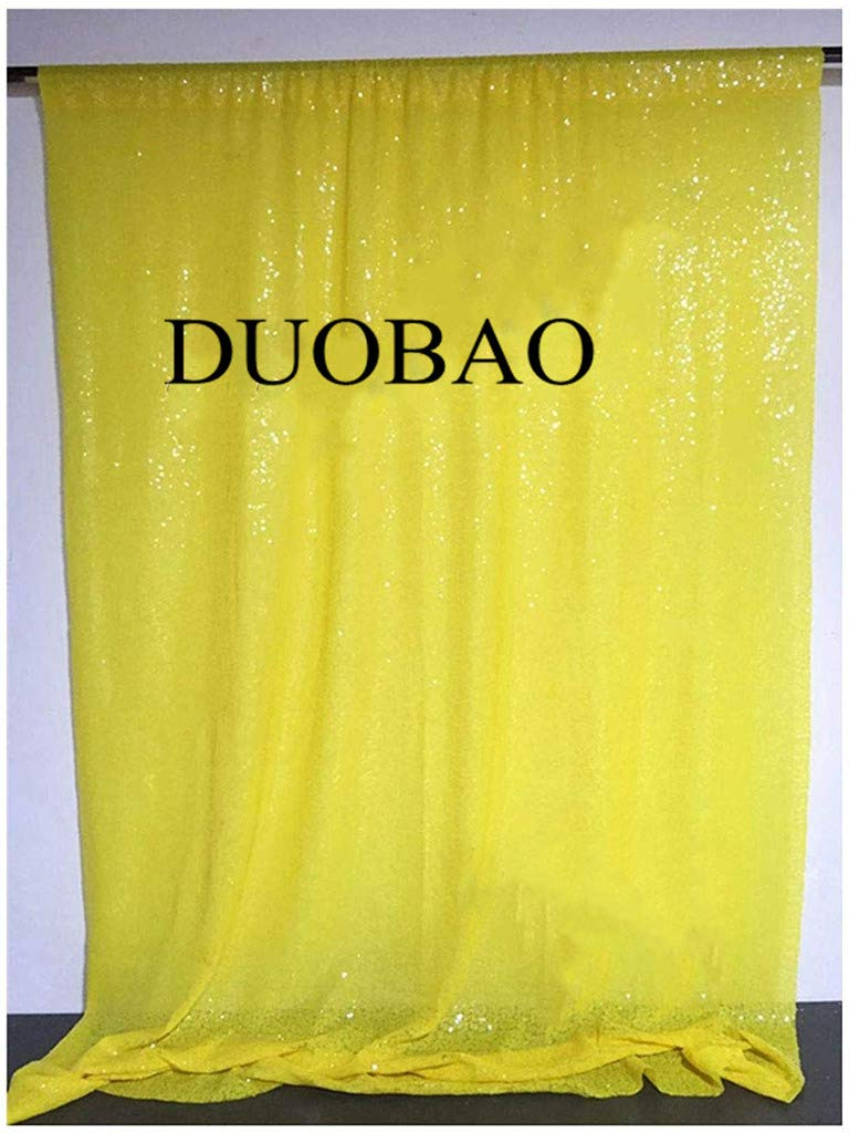 DUOBAO Sequin Backdrop Curtain 4FTx6FT Yellow Glitter Background Yellow Sequin Photo Backdrop Prom Party Decor~0613