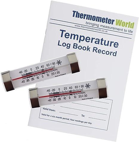 Libro de registro de temperatura para frigorífico de 6 meses con 2 ...