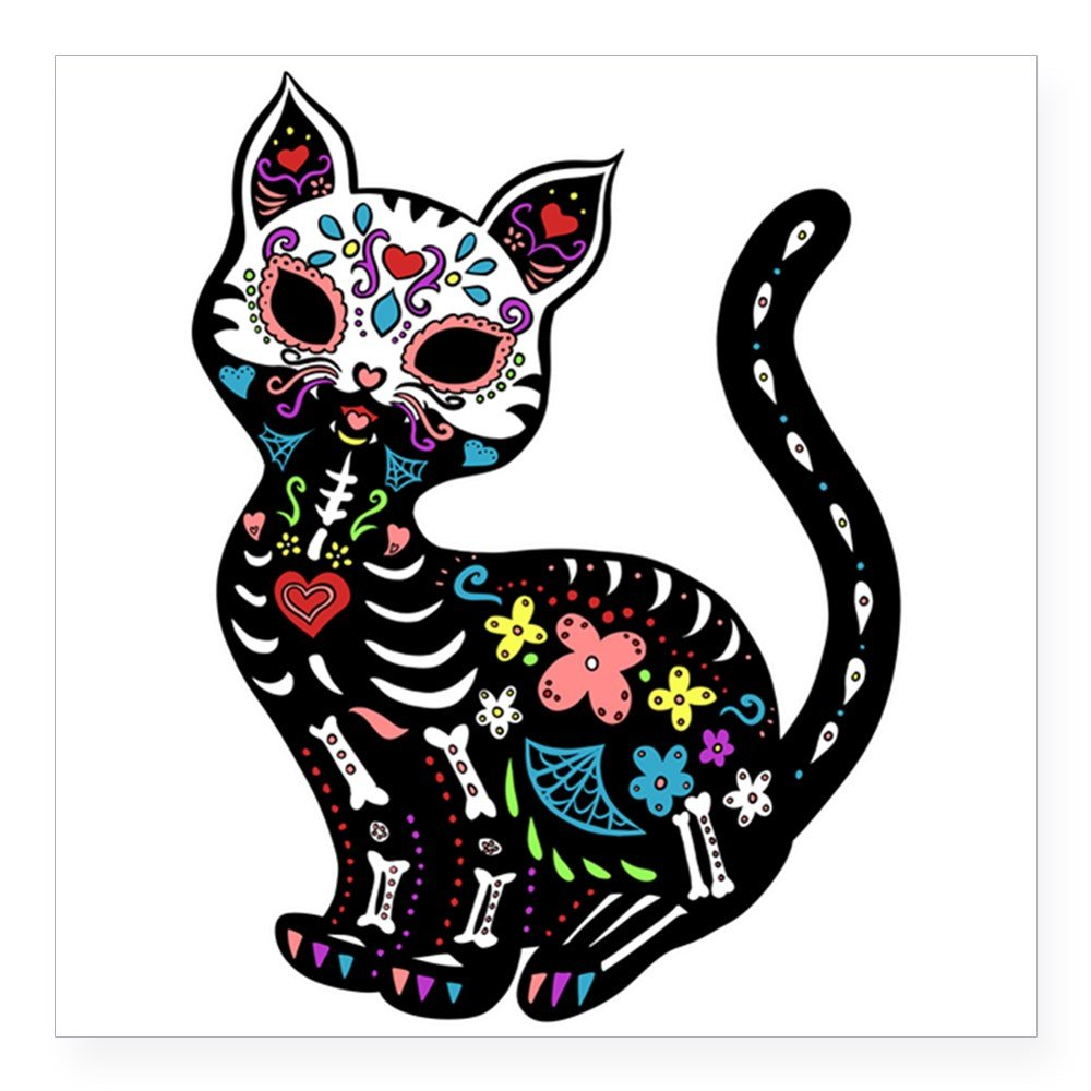 Amazon.com: CafePress Dia De Los Gatos Sticker Square Bumper Sticker Car Decal, 3