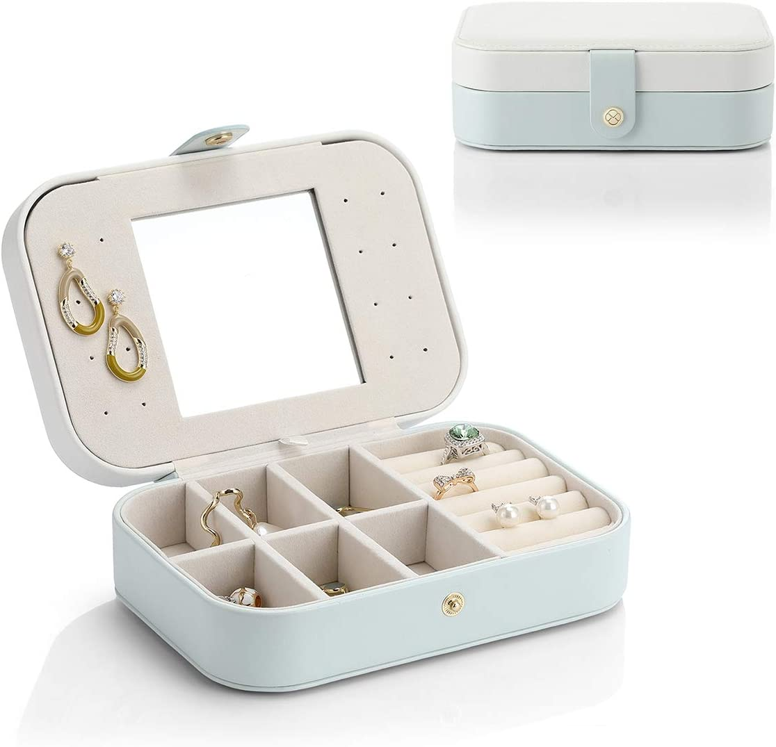 Vlando Travel Jewelry Case Box Women PU Leather 2 Layer Jewelry Organizer Holder for Necklace Earring Rings-White&Green