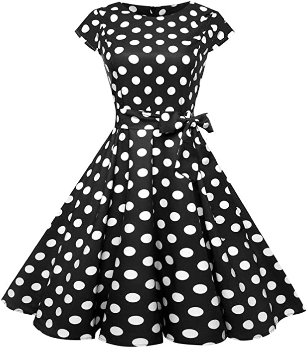 0fab59bf5da Alixyz Women s Vintage 1950s Retro Rockabilly Cap Sleeve Swing Dress with  Belt (S