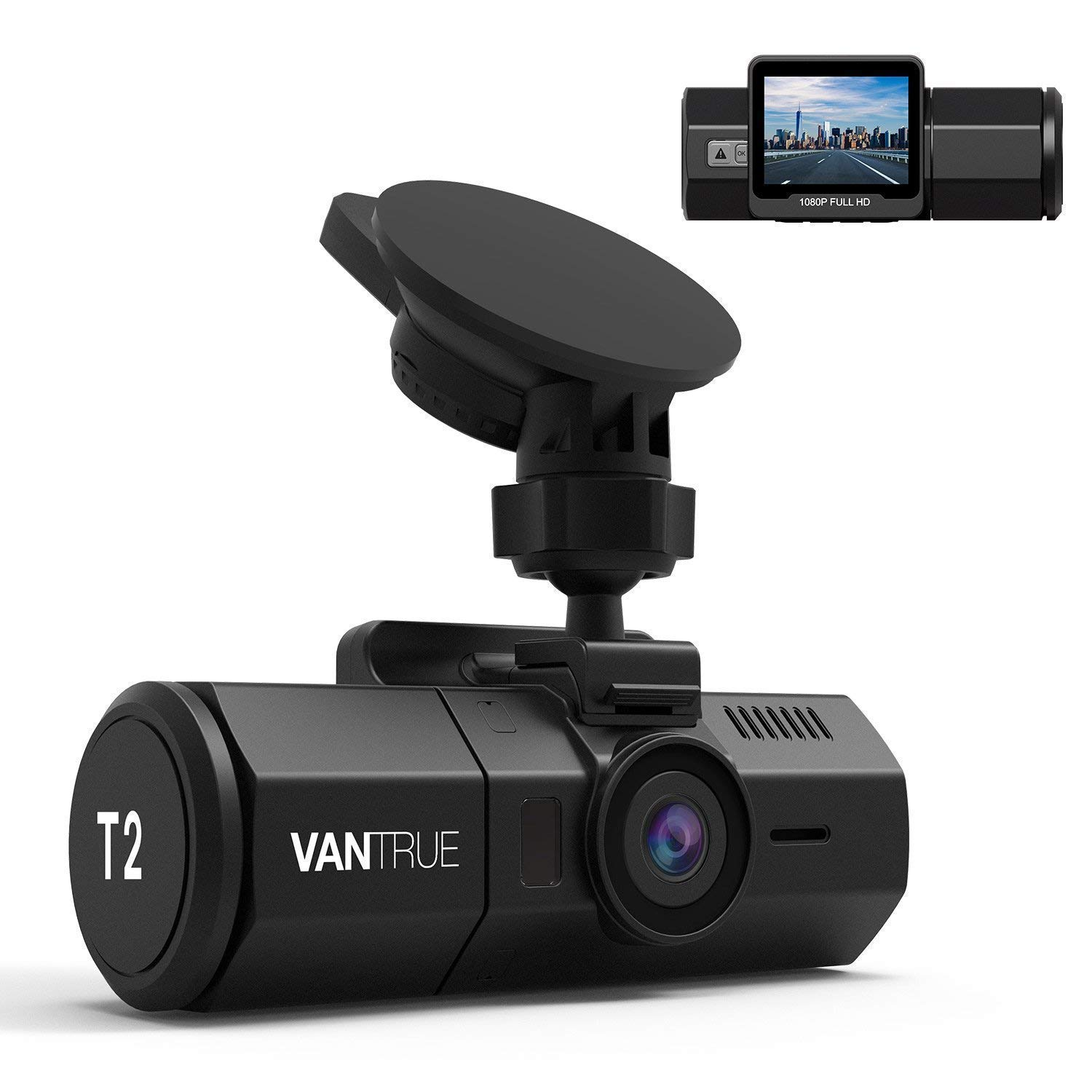 Vantrue T2 24 7 Recording Dash Cam Super Capacitor Car Camera 1920x1080P 2.0 Inch LCD 160 Degree OBD2 Dashboard Camera, Microwave Parking Mode, Night Vision, Sony Sensor, Support 256GB Max