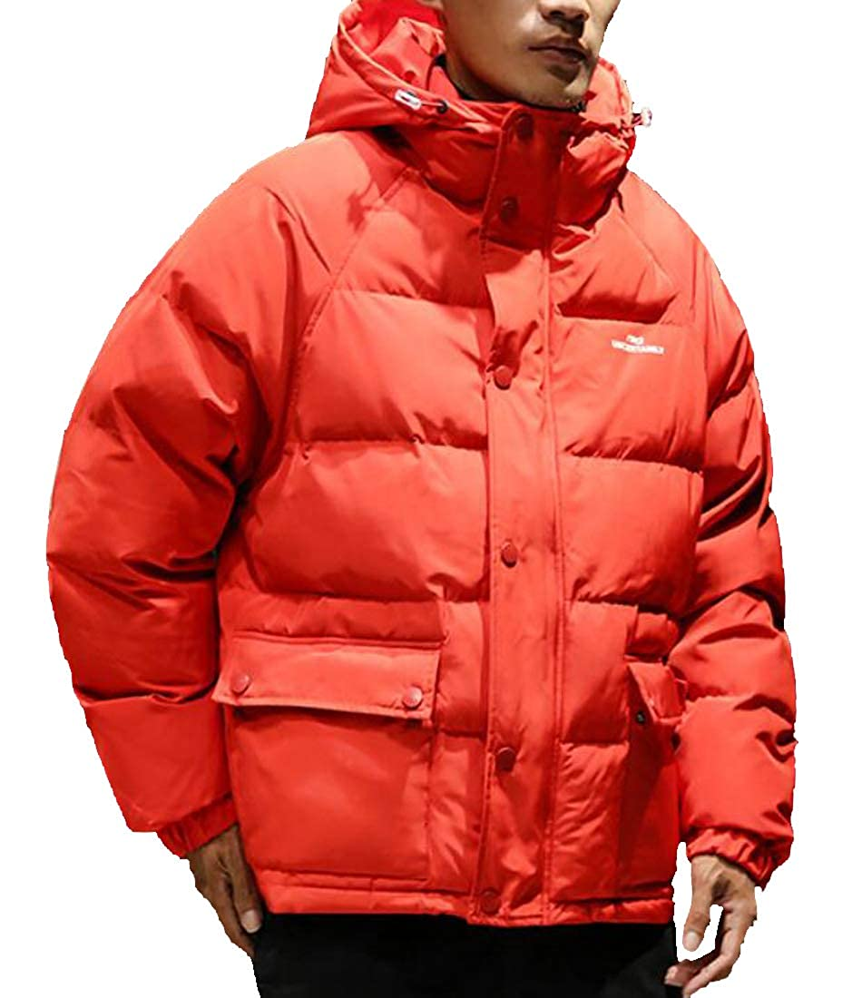 Jofemuho Mens Winter Thickened Relaxed Fit Plus Size Hooded Down Quilted Coat Jacket Outerwear
