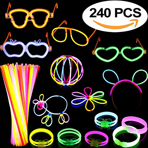 Glow Sticks 240PCS Party Favors for Kids/Adults:100 Glow sticks 8 Colors& Multi-Connectors for Necklace, Flower Balls, Luminous/Apple/Heart /Skull Glasses,Triple/Butterfly Bracelets/Bunny (Glow Bunny Ears)