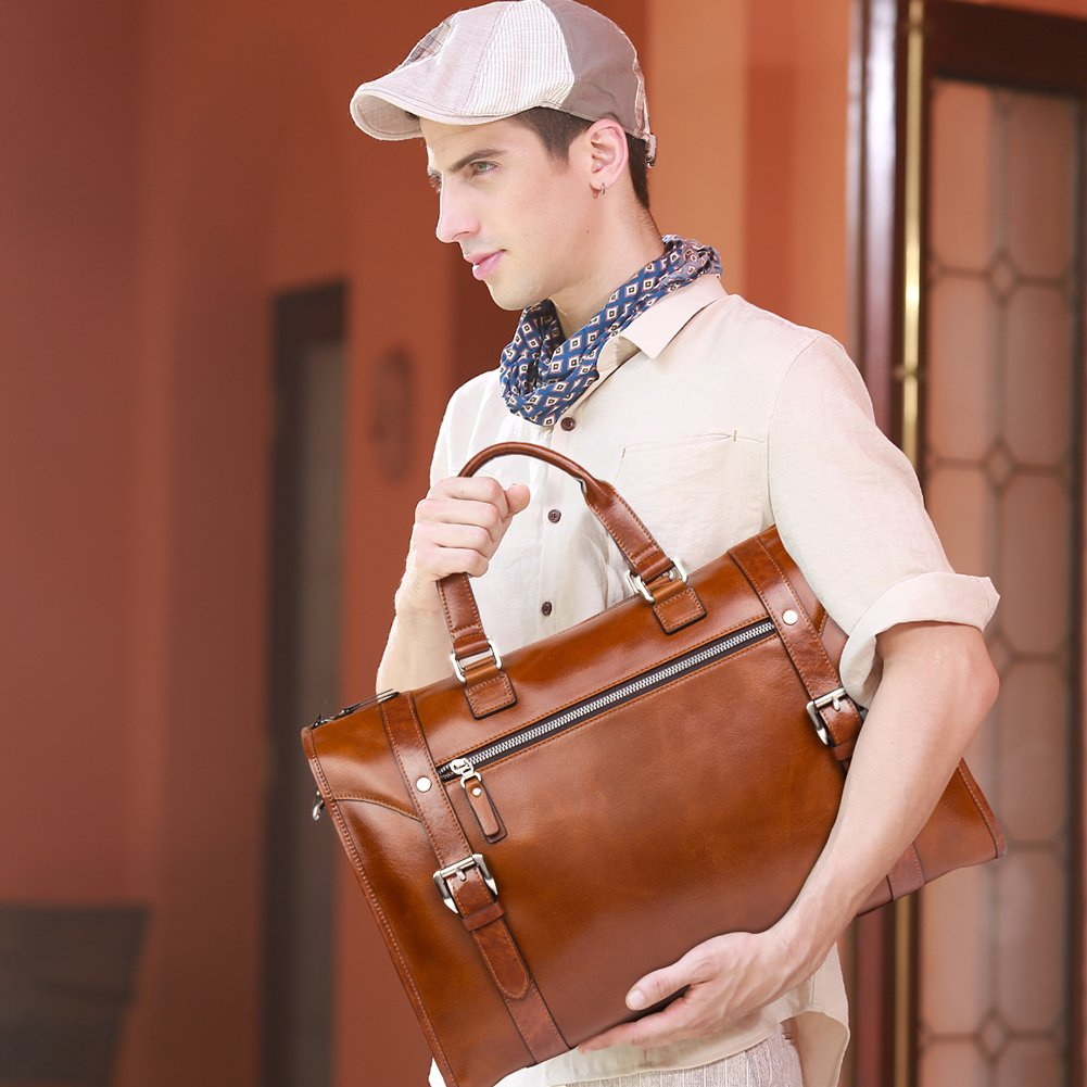 MANTOBRUCE Leather Briefcase Weekender Overnight Duffel Bag Gym Sports Luggage Bags for Men Women by MANTOBRUCE (Image #7)