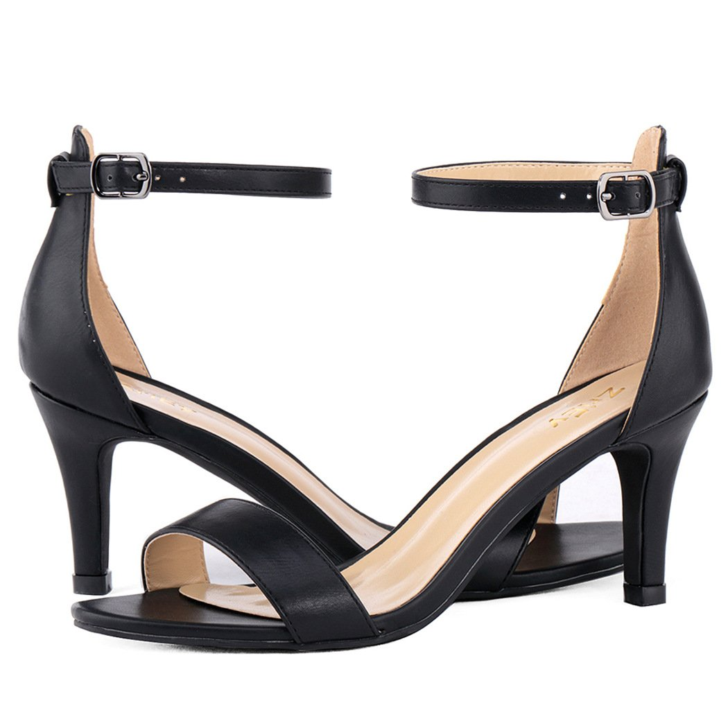 ZriEy Women's Heeled Sandals Ankle Strap High Heels 7CM Open Toe Mid Heel Sandals Bridal Party Shoes Black Size 8 by ZriEy (Image #6)