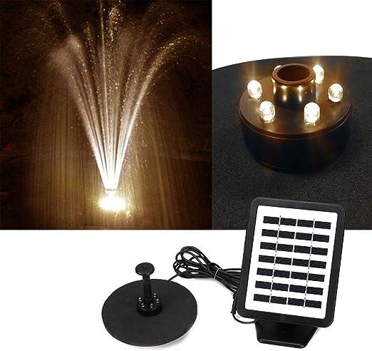 Aufun - Bomba solar LED con batería de 1, 5 W de potencia, fuente de agua, bomba para estanque, incluye 4 accesorios para fuente de jardín – luz blanca fría, Warmweiß Licht: Amazon.es: Jardín