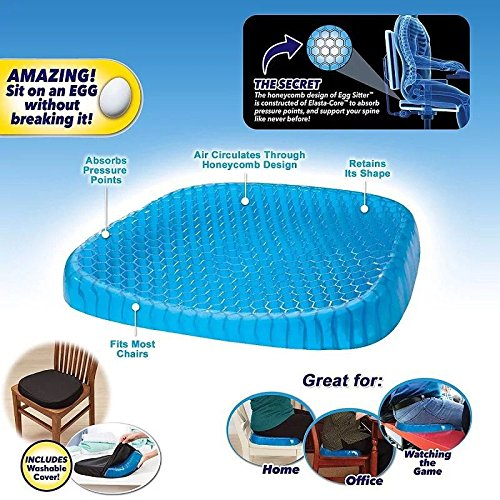 Egg Sitter Seat Cushion with Non-Slip Cover Breathable Honeycomb Desigh Absorbs Pressure Points, Cool Gel Memory for Sciatica, Back, and Tailbone Pain, for Home, Office Chair,Car FMU
