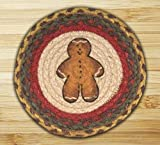 Gingerbread Kitchen Rugs Earth Rugs 80-111 Ginger Bread Man Round Printed Swatch, 10-Inch