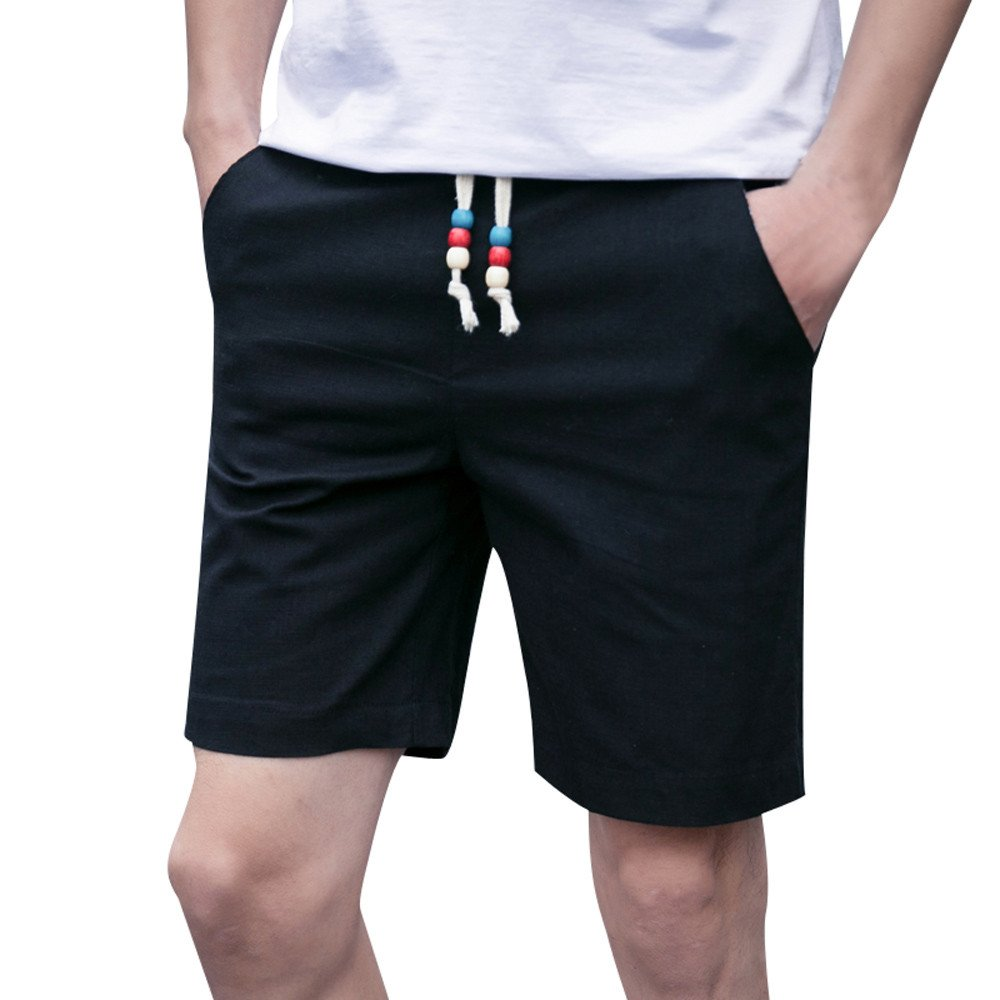 Kstare Classic Fit Shorts Men Summer Linen Cotton Solid Beach Casual Elastic Waist Pants Trousers Sweatpants Black