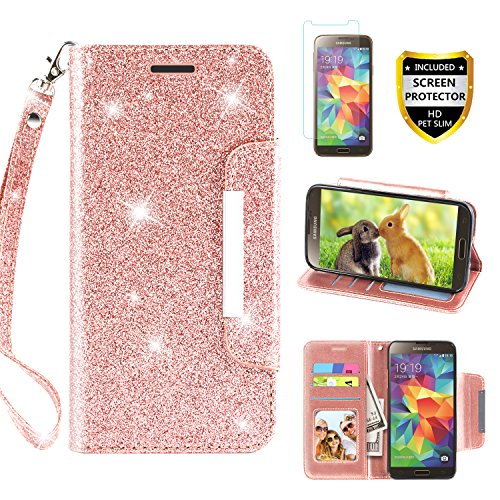 Screen Protector, TPU + Leather Bling Glitter Flip Wallet Case with Kickstand Credit Card Holder Slot for Girls/Women for Samsung Galaxy S5, Rose Gold ()