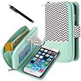 E LV Case for iPhone 6 - PU Leather Wallet Flip Case Cover for iPhone 6 (Compatible with AT&T, T-Mobile, Sprint, Verizon, International Unlocked) with 1 Black Stylus - Zigzag/Mint